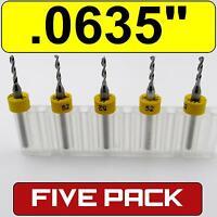 "Five .0635"" #52 Carbide Drill Bits - 1/8"" Shaft cnc pcb model hobby  R/S"