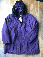 Bnwt Ladies Warm Purple Hooded Coat From Marks And Spencer Size 22