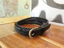 Black Woven Leather Belt Size 40