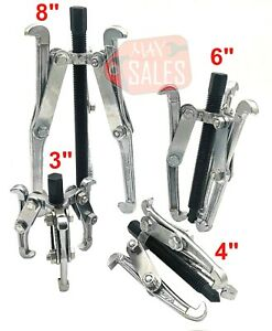 """4 Pc Mechanic Gear Puller 3 Jaw Set 3"""" 4"""" 6"""" 8"""" Gear Pulley Bearing Puller Auto"""