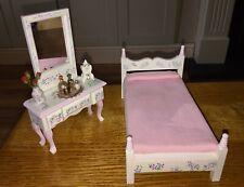 Casa De Muñecas Muebles de Dormitorio Blanco Pintado a Mano de escala 12th Tocador cama