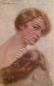 Donna con collo di pelliccia / illustratore Corbella