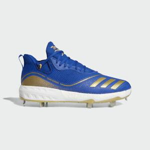 New Men's Adidas Icon V Metal Baseball Cleats Royal Blue Gold 11 $120