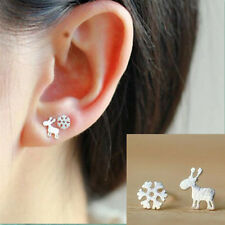 925 Silver Plated  Christmas Snowflake Fawn Asymmetric All_match Stud Earrings