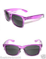 Women's Men's Wayfarer Sunglasses Clear Purple Frame Geek Chic Retro Vintage 52