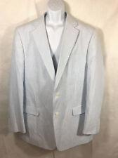 Paul Fredrick White Blue Striped Seersucker Blazer Sport Coat Jacket sz 46 XLong