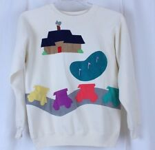 VTG Golf Sweater Sweatshirt Applique Clubhouse Golf Cart Green Snow Bird Size L