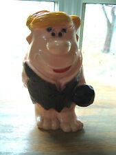 1973 Barney Rubble & Bowling Ball Flintstones Plastic Piggy Bank & Stopper