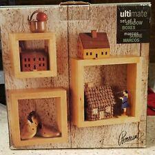 Shadow Boxes~Set Of 3~Natural Solid Wood~NIB