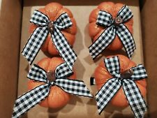 Cynthia Rowley Halloween Thanksgiving Buffalo Check Ribbon Pumpkin Napkin Rings