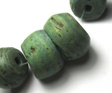 """8 RARE LARGE STUNNING OLD/ANCIENT GRADUATED GREEN """"HEBRON"""" GLASS BEADS"""