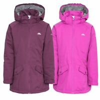 Trespass Moonstar Girls Waterproof Jacket Padded Hooded Raincoat in Purple
