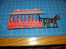 """CAST IRON HORSE DRAWN TROLLEY WALL HANGING W/ PASSENGERS & DRIVER 11"""""""