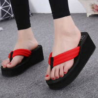Women Summer Wedge Thick Slippers Flip Flops Platform Thong Sandals Beach Shoes