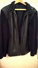 Men's GAP Black Leather Jacket with knit sleeves., Size L