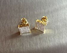 Men's Ladies 14K Gold Finish 0.5ct. Lab Diamond Canary Screw Back Earrings 8mm