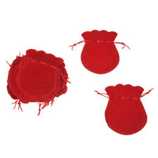 20 Red Velvet Oval Ring Earrings Wedding Present Gift Favor Bag Pouch W8B5