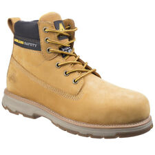 Mens Amblers Honey Leather Safety Work Boots Steel Toe Cap Laced Lightweight