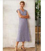 Bias Cut, Lightweight Flowing Crepe Viscose Summer Midi Dress By Masai Size S
