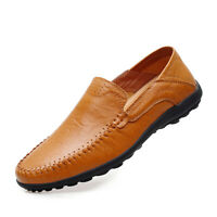 Men's Driving Casual Boat Genuine Leather Soft Shoes Moccasin Slip on Loafers