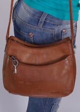 FOSSIL Small Brown Leather Crossbody Shoulder Hobo Tote Satchel Purse Bag