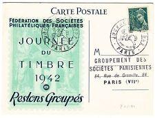 CARTE PHILATELIQUE TIMBRE FRANCE N° 538 JOURNEE DU TIMBRE 1942