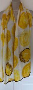 White Stuff Scarf Wrap Yellow Lemon Embellished Lightweight Large  BN
