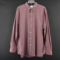 Mens Rowm Designer Dress Shirt Size XL Button Up Casual Blue Long Sleeve Cotton