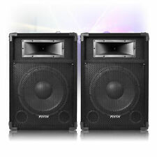 """Pair of 12"""" Active Powered DJ Speakers Party Disco Sound 1200W"""