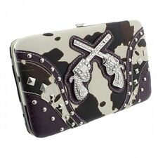 Purple with Black and White Cow Print Two Gun Accented Flat Style Wallet