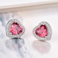 Women Engagement Fashion Vintage Red Garnet Gemstone Crystal Heart Stud Earrings