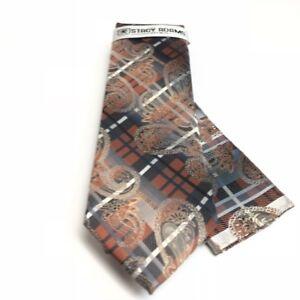 Stacy Adams Men's Tie & Hanky Rust Silver Charcoal Bone Hand Made Microfiber