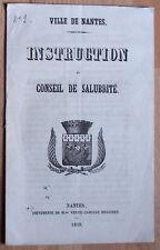 NANTES 1849 INSTRUCTION du Conseil de Salubrité CHOLERA mesures précautions BE