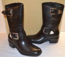 New $295 Michael Kors Robin Mid-Calf Boot Black Leather Silver Buckle sz 5