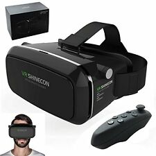 "VR Shinecon 3D Glasses Headset 3D Movies Games For 4"" to 5.5"" Phone With Remote"