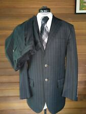 POLO RALPH LAUREN Charcoal Grey Pinstripe Suit 40R - 32x29  Made in Italy EUC