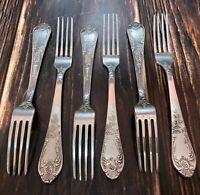 Vintage Dessert Forks Silver Plated Melchior Set of 6 SOVIET USSR Russian Zish