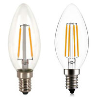1Pc E14 2/4W Warm White Cob Filament Retro Led Light Candle Bulb Lamp Chandel wl