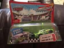 NIB DISNEY-PIXAR~CARS~SHINY WAX 82~LAUNCH & RACE~PIT RACE-OFF~RACE-O-RAMA~GREEN