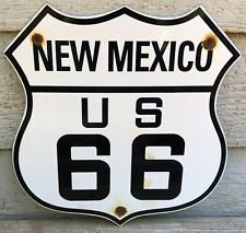 VINTAGE NEW MEXICO US ROUTE 66 PORCELAIN SIGN, HIGHWAY, MOTOR OIL, GASOLINE, USA