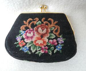 Geldbeutel mit Blumen-Stickerei, besticktes Portemonnaie