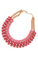 Women Alloy Bubble Bib Statement Weave Collar Necklace-Rose Red V1Q4