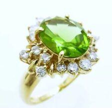 Quality 18k CLEAN peridot diamonds halo ring august birthstone  ring