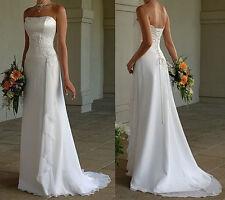 New White Ivory Chiffon Wedding Dress Bridal Gown Stock Size 6 8 10 12 14  16