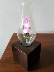 VTG/Antique AEROLUX Bird/Flowers Filament BULB in WOOD Base Light Fixture/Lamp