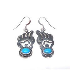 Navajo Turquoise Sterling Silver Bear Paw French Hook Earrings -Ross Antonio