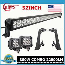 """Mounting Bracket for Jeep Wrangler JK 07-19+52Inch 300W LED Light Bar+2X 4"""" 18W"""