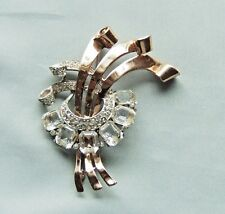 Vintage CORO CRAFT Gilded Gold Sterling / Rhinestone Statement Brooch/Pin