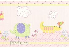 30' Jungle Luv Lambs & Ivy Baby Lions Zebras Moneky Pink Wallpaper Wall Border