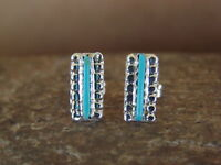 Native American Zuni Sterling Silver Turquoise Petite Point Post Earrings! Handm